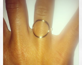 Gold plated or silver circle ring solid model of my life