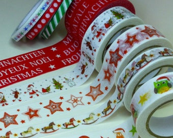 Washi Paper - Masking Tape set of 8 x 10 m Christmas winter print