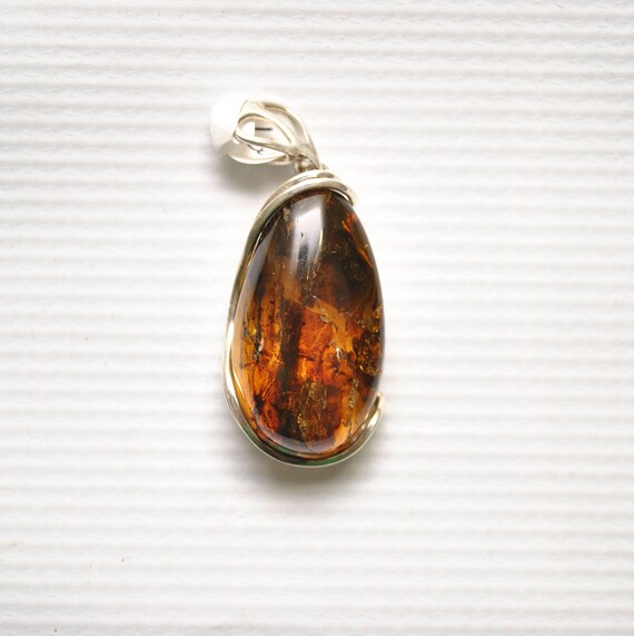 Sterling Silver Green Amber Pendant #9336