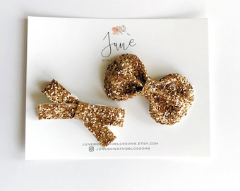the BLING bow || GOLD; glitter bow, sequin bow, birthday girl, bling bow, gold bow