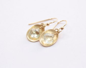 14 Karat Gold Plated Aquamarine Gemstone Drop Earrings