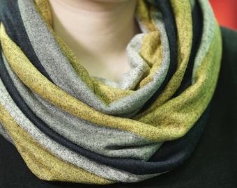 Infinity scarf stripes yellow grey black