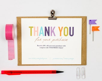 Thank You For Your Purchase Template INSTANT DOWNLOAD - Thank you for your business card template