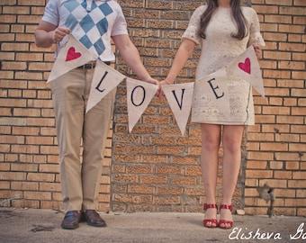 LOVE Glittered Banner on Natural Burlap...The ORIGINAL LOVE Banner