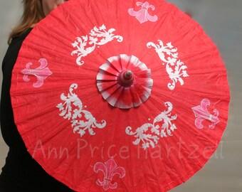 Parasol - Red Parasol with Silver Fleur de Lis