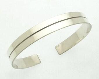 Silver Mens Cuff Bracelet - Personalized Mens Statement Bracelet, inscription bracelet, Inside Engraved Bracelet for Men, mens gift bracelet