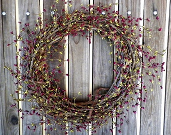 Red and Green Pip Berry Wreath,Red Berry Wreath,Red Garland,Green Berry Wreath,Red Decor,Red Swag,Spring Decorations,Spring Decor