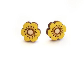 Yellow flower earrings ~ hand painted laser cut stud earrings
