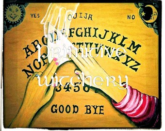 "Original Art Print Ouija Board art, ""The Visitor"" ghost art, Spirit Art, Spirit board artwork, Talking Board Art"