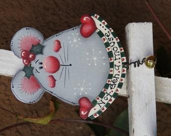 Christmas Mouse Wood Ornament