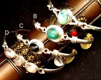 Sterling Silver Clasp Bracelet.  Tibetan Turquoise or Black Star free US ship.