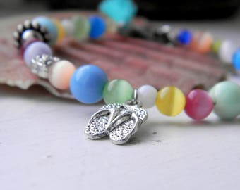 Colorful summer beaded bracelet, Spring boho-style bracelet with tassel and flip flop charm