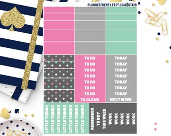 """51 Nautical Collection """"Washi"""" and Section Header Planner Stickers! KT428"""