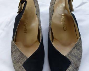 Vintage ladies Guazzo black suede/tweed peep toe slingback Lino size 36 1/2