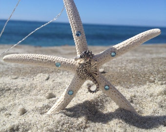 Natural small finger starfish ornaments (4' long) with a metal cast seahorse centerpiece and swarovski crystals