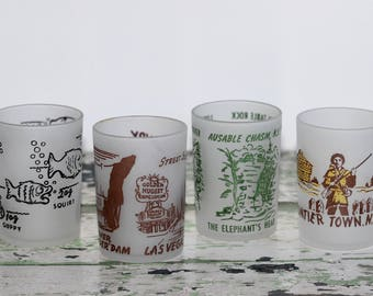 Vintage Souvenir Hazel Atlas Frosted Shot Glasses Bait Bucket, Las Vegas, New York