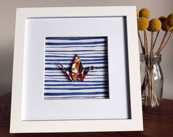 Framed Origami Crane - Traditional Japanese Origami Crane, Blue Striped Print
