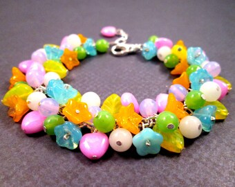 SALE - Flower Charm Bracelet, Bright Bouquet, Colorful and Silver Cha Cha Style Bracelet, FREE Shipping U.S.