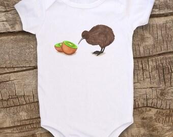 Kiwi bird, Cute Baby bodysuit, Unique Baby Clothes, Funny Baby shirt, Animal Baby Clothes, Baby Bird, Bird baby, New Zealand, Kiwi
