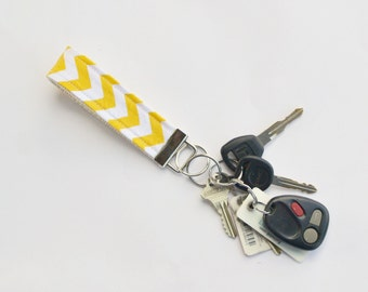Yellow Chevron Fabric Key Fob