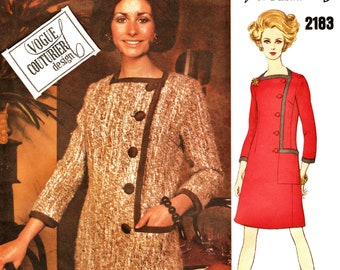 MOD 60s Vogue Couturier Design Pattern 2183 Sybil Connolly Side Button Semi-Fitted Dress PLUS Sz 16 w LaBeL Uncut FF Couture Sewing Patterns