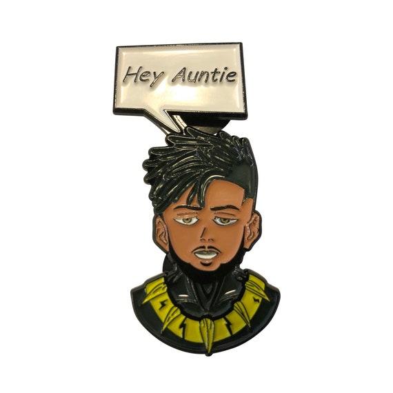Hey Auntie Wakanda BLACK PANTHER t'challa killmonger marvel comics infinity war metal enamel pin