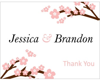 40 Custom Glossy Wedding / Personalized / Any Occasion Folded Thank You cards with envelopes - hundreds of designs available