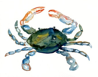 CRAB 7x5inch Print-Art Print-animal Watercolor Print-Giclee Print-Nursery decor-Playroom Decor-Nursery wall art