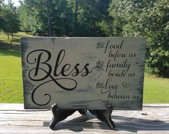 FREE SHIPPING!Wood, Rustic, Distressed, Sign, Wall Decor, Bless, Grace, Kitchen