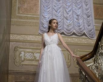 Simple wedding dress, Bridal Beach wedding dress, cheap Boho wedding dress, bohemian wedding dress, Summer A-line wedding dress, 0142 / 2018
