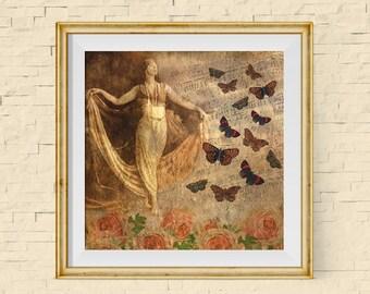 Gift for Dancer, Dancer Decor, Music Decor, Boho Decor, Gift for Music Lover, Gifts for Musicians,Victorian Decor,Boho Chic Art,Bohemian Art