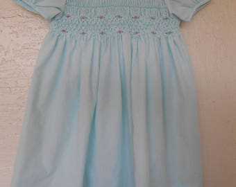 Vintage Girl's Dress Mint Green by Polly Flinders Size 4 Smocked