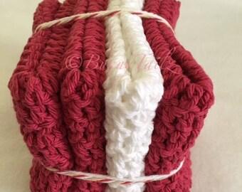 Spa Cloths, Crochet, Kitchen, Gifts Under 15, Cotton, Crimson Red, White