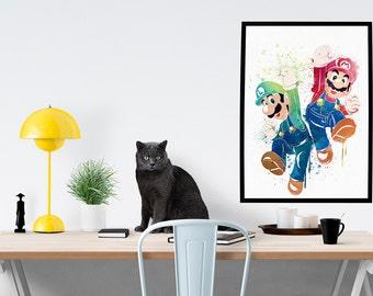 Nintendo Watercolor Super Mario Bro With Luigi Poster Art Print