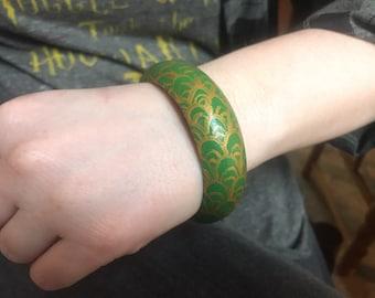 Green & Gold Waves Wooden Bracelet