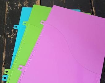 GREEN PLANNER POCKET | clip in, plastic file, add on, homeschool planner, teacher student planner, spiral bound, print lesson plans, agenda