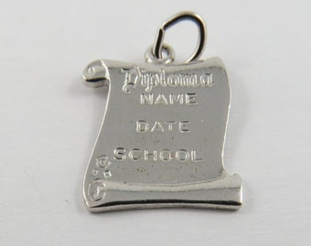Graduation Scroll Diploma Sterling Silver Charm or Pendant.