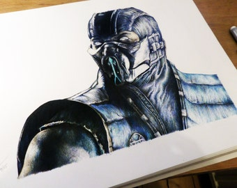 Original - Mortal Kombat - Sub Zero Pencil Portrait