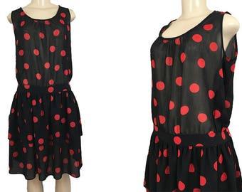 Ted Lapidus Dress Diffusion Paris France Vintage 1980s Semi-Sheer Red Black Polka Dot Drop Waist