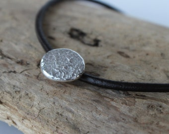 Sterling Silver Organic Pendant & Leather Necklace - Eco Friendly Silver and Leather Necklace, Sterling Silver Minimalist Pendant
