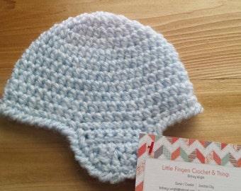 Newborn Purple to Blue Ear Flap Hat