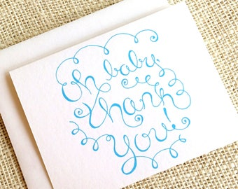 Set of 10 Baby Boy Thank You Cards - Hand Drawn Baby Shower Thank You Notes in Blue - Oh Baby Thank You Simple Whimsical Cards w/ Envelopes