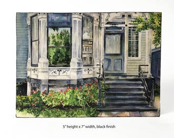 READY TO SHIP! Lincoln Park, Chicago, Vintage House, bay window, old house, Watercolor art print mounted on wood panel — ready to hang