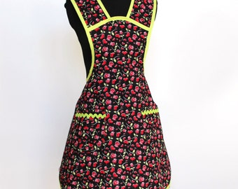 Vintage Inspired Fun and Flirty - Hearts and Roses Cotton Apron with two pockets