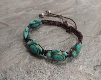 Turquoise Turtle Bracelet - Brown Hemp Bracelet - Sea Turtle Bracelet - Hawaiian Honu Turtle Bracelet - Brown Turtle Bracelet
