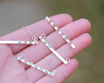 SILVER BIRTHSTONE BAR Necklace - Bar Necklace - Birthstone Bar necklace - Fine Silver Bar - Silver Bar Necklace