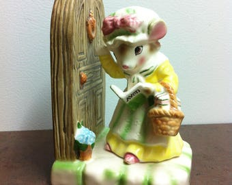 """Vintage Avon Collectable - Precious Moments - """" My First Call """" - Mouse Figurine Making a Cold Call - Gift for the Collector"""