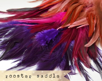 180 pcs+- Rooster Saddle feathers - 2 inch strip - two-tone, pointy tip, shiny feathers, exotic feathers (RS03, 04, 12))