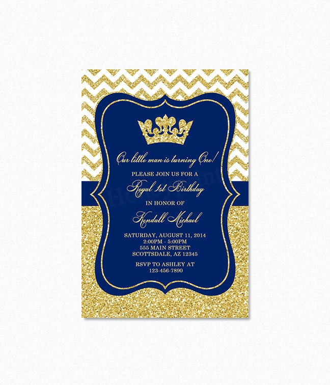 Prince Birthday Party Invitation Royal Blue Gold Glitter