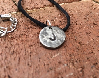 Hand Forged Hammered Personalized Initial Pendant Necklace, Metal Initial Necklace, Initial Charms, Personalized Jewelry